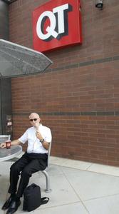 a man is tube feeding coffee