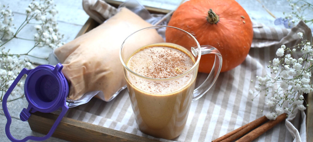 Pumpkin Spice Latte Recipe for Tube Feeding by G tube or J tube. Recipe for people on a blended diet for tube feeding or using blenderized tube feeding for their nutrition.