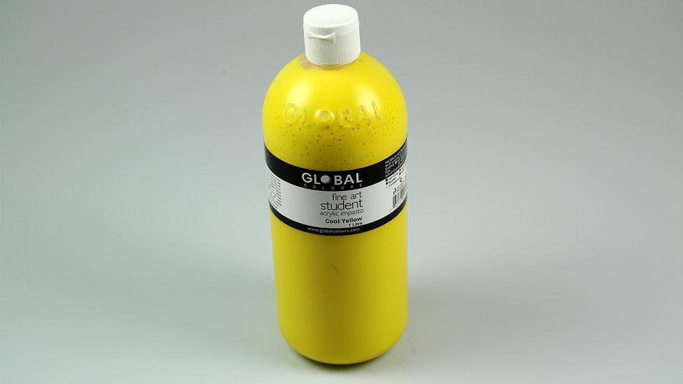 Global Acrylic Paint Bottle 1Litre , Cool Yellow (Hansa)