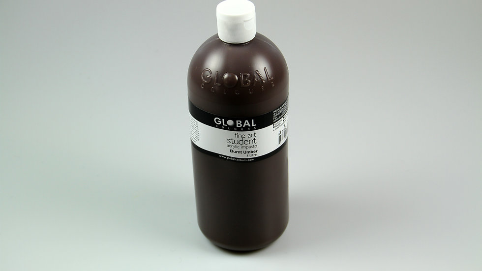 Global Acrylic Paint Bottle 1Litre ,  Burnt Umber