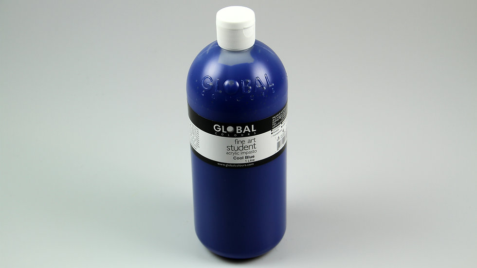 Global Acrylic Paint Bottle 1Litre , Cool Blue (Pthalo)