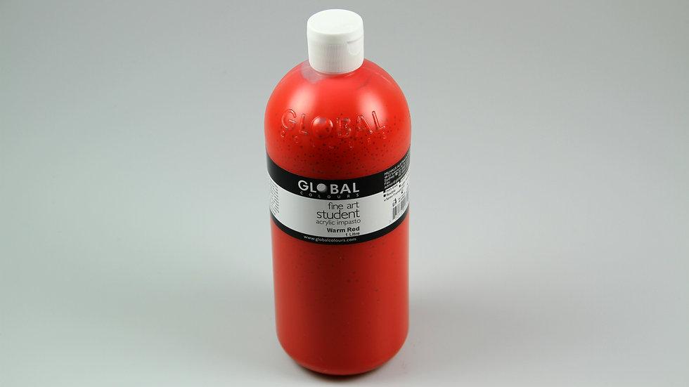 Global Acrylic Paint Bottle 1Litre , Warm Red (Napthol)