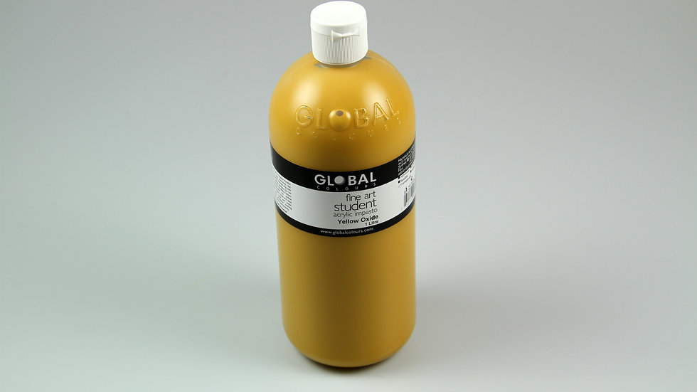 Global Acrylic Paint Bottle 1Litre , Yellow Oxide