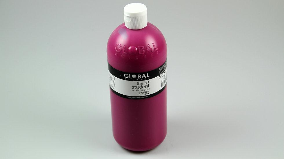 Global Acrylic Paint Bottle 1Litre , Magenta