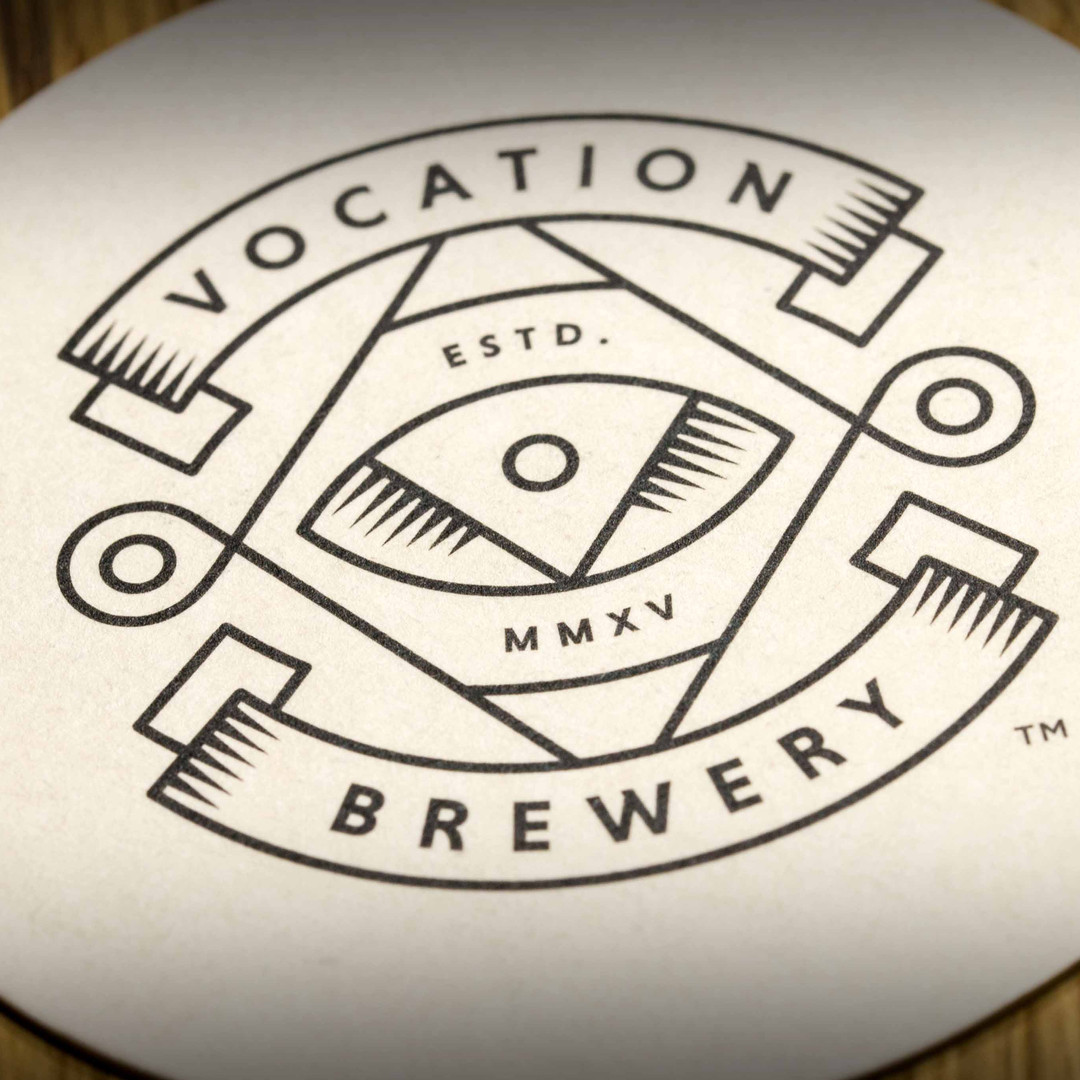 Vocation Brewery Beer White Logo Mats Coasters