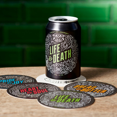 Vocation Brewery Life & Death Can and Beer Mats Coasters