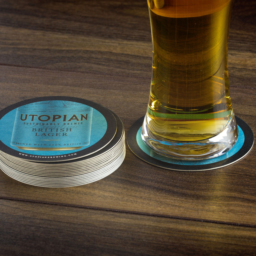 Utopian Brewery Lager Beer Mats and Pint