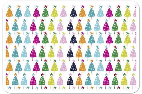 Christmas Placemats - Pack of 8 with Coasters - Double Sided - Multi-colour Tree