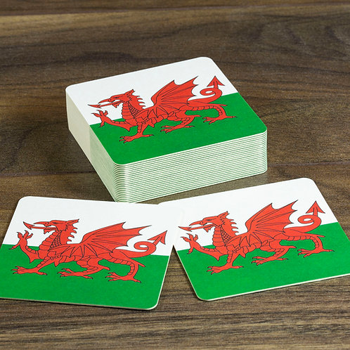 Wales Flag Beer Mats / Coasters - Welsh Dragon