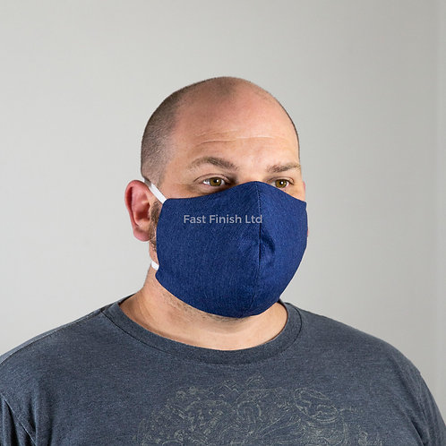 Denim & Organic Cotton Face Mask - Large