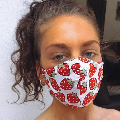 Strawberries Face Mask by Pearl's Drapery