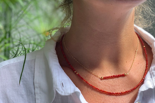 Micro Red Beads Necklace with Mini Ball Charm by RISZA X Jody
