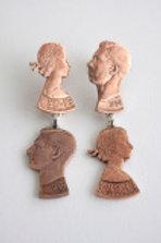 Copper Double Stud Penny Earrings by Rachel Eardley