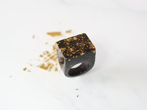 Black and Gold Cube Ring by Gem Lettuce