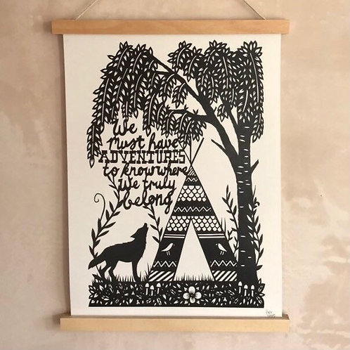 'Adventure Wolf' Print By Porkchop Papercuts