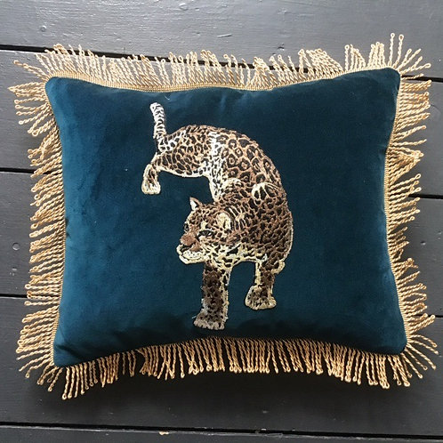 Teal Cotton Velvet Oblong Embroidered Leopard Patch Cushion by Desertland Wares