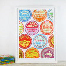 Bottle Tops ll Screen Print by Pat Edgeley