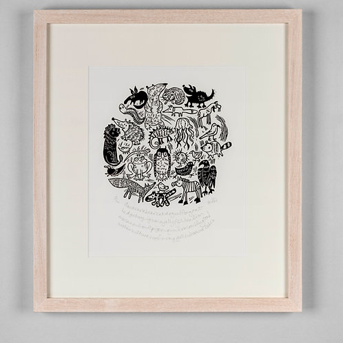 'Aardvarkbearcatdogeelfoxgoathorse' Limited Add. Lino Print by Melanie Wickham
