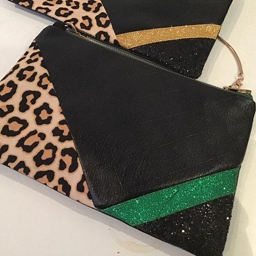 Handmade Vegan Leather Glitter/Leopard Evening Bag Print Wares