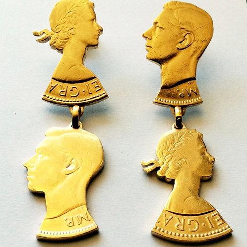 Gold Double Stud Penny Earrings by Rachel Eardley