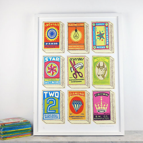Retro Matchboxes Screen Print by Pat Edgeley