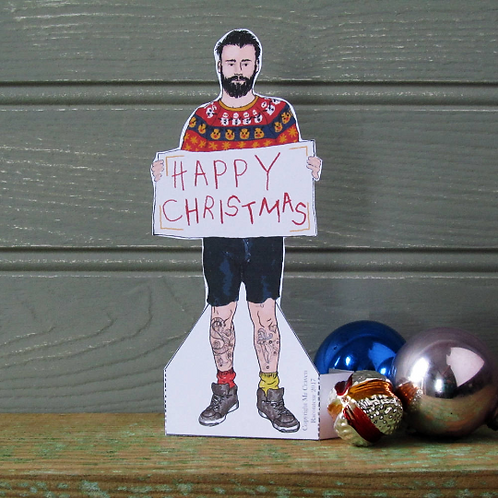Christmas Tattoo Man Card by Mr Craven: Raconteur