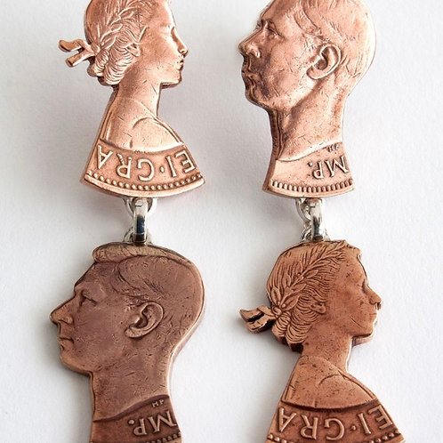 Copper Double Stud Penny Earrings by Rachel Eardley