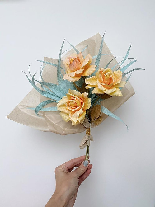 Yellow Rose and Palm Paper Flower Bouquet by PaperFlowerMeadow