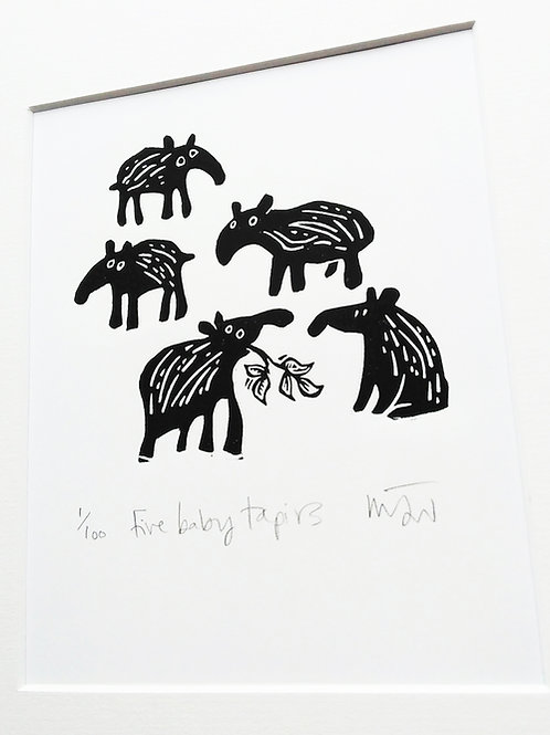 'Five Baby Tapirs' Limited Addition Lino Print by Melanie Wickham