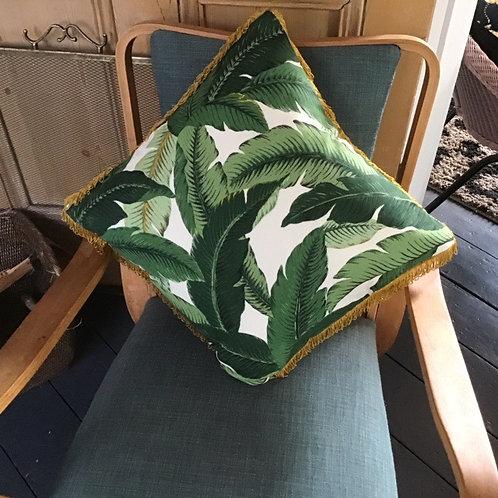 Palm Leaf Cushion with Gold Fringe  by Desertland Wares