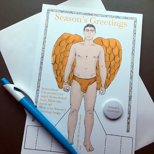 Christmas Angel Man Card by Mr Craven: Raconteur