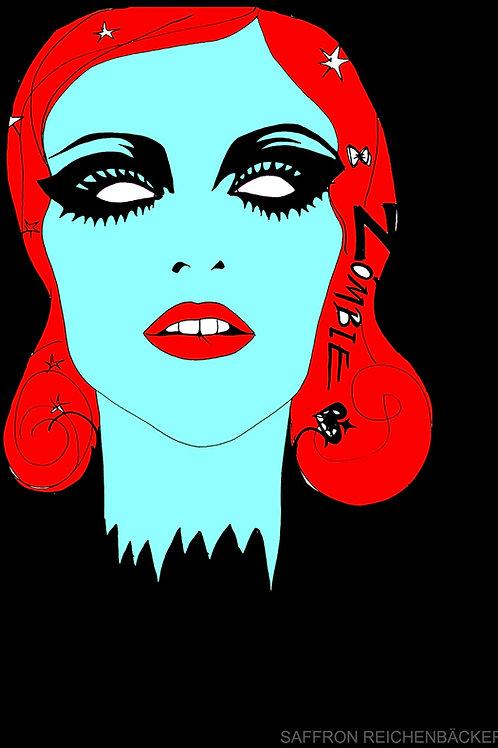 'Blue Zombie girl' - Mini Print by Saffron Reichenbacker