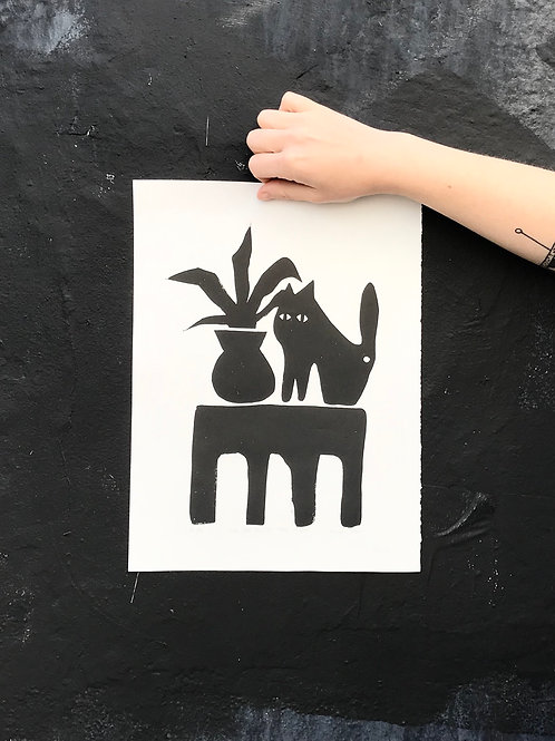'Cat with the Plant ll' Lino Print by Anna Soba