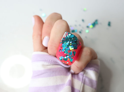 Teal and Neon Pink Tall Ring by Gem Lettuce