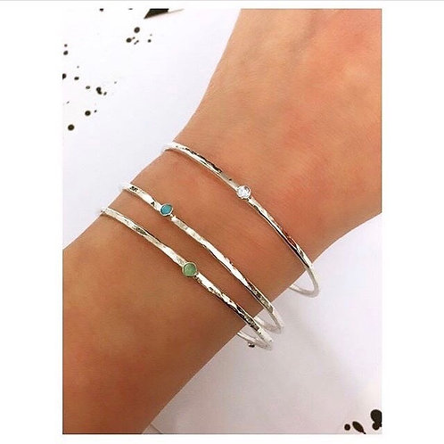 Hammered Crystal Silver Bangle by Lulu McQueen