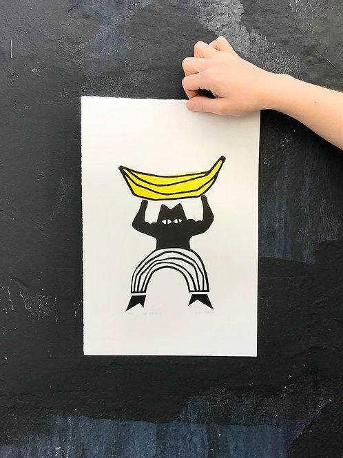 'Go Bananas' Lino Print by Anna Soba