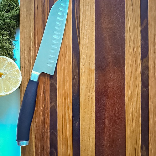 Striped Reclaimed  Hardwood Cutting Board made from by Lejscarpentry