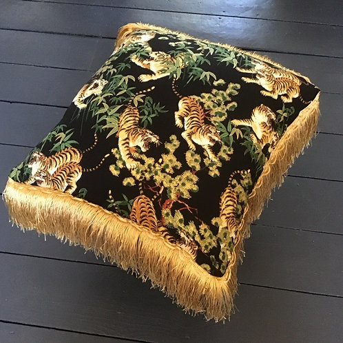 Japanese Black and Gold Bamboo Tiger  Print Cushion Cover by Desertland Wares
