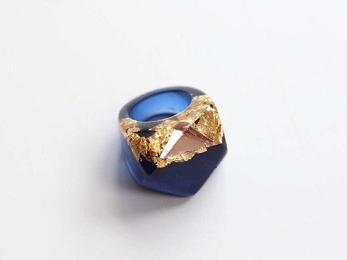 Rose Gold and Blue Sparkler Ring by Gem Lettuce