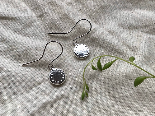 Recycled Silver Organic Coin Earrings by Hummingbird Hawkmoth