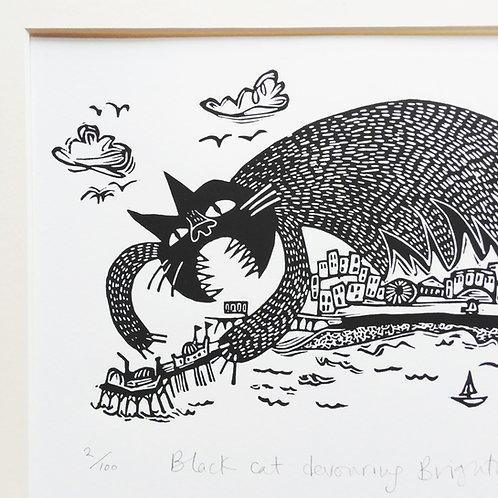 'Black Cat Devouring Brighton Pier' Limited Add. Lino Print by Melanie Wickham