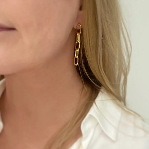 Chunky Chain Earrings in Silver or Gold by MayaH Jewellery