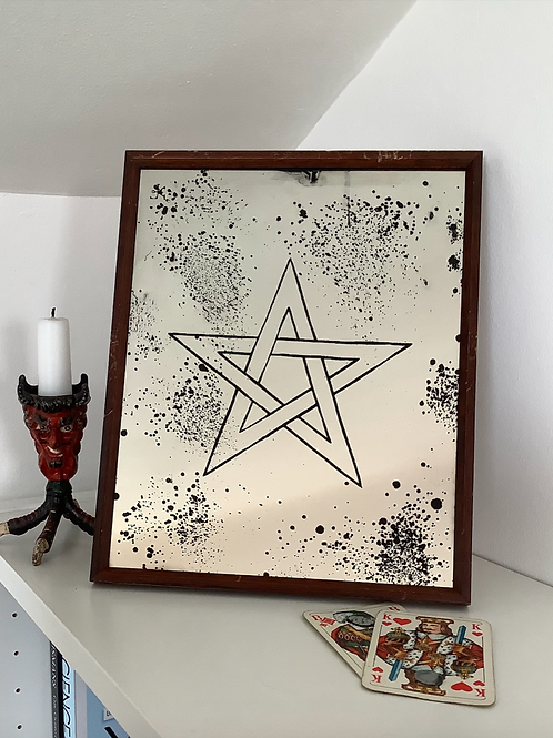 'The Devil is in the detail' Pentagram Mirror by Kill Medusa Mirrors