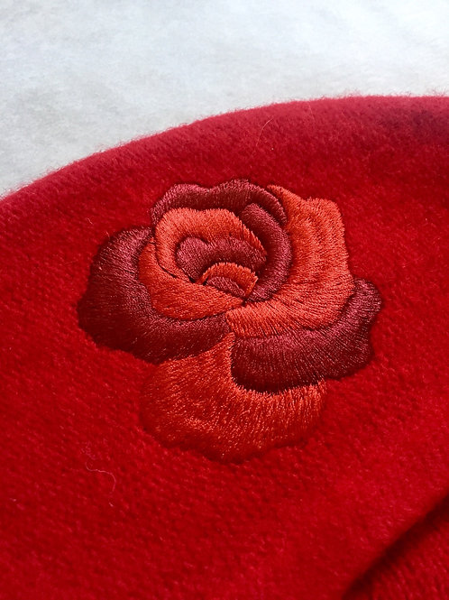 Vintage Red Beret with Rose Embroidery by Dead Lavender