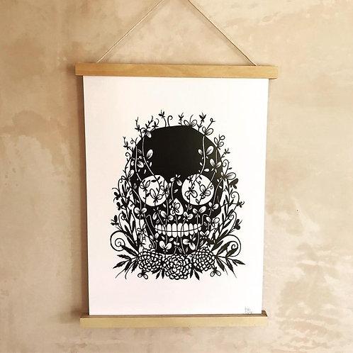Sugar Skull Print By Porkchop Papercuts