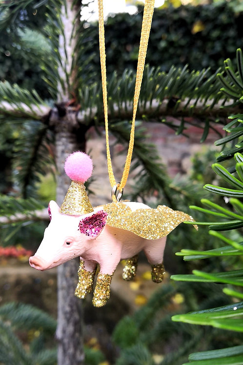 Flying Pig Hanging Decoration by Collage Queen