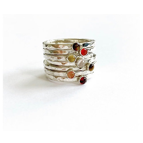 Hammered Crystal Stacking Rings by Lulu McQueen