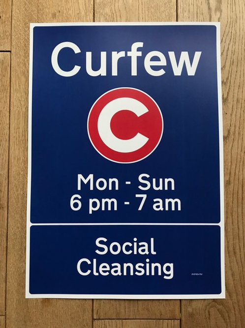 'Curfew' Metal Sign by Subvertiser
