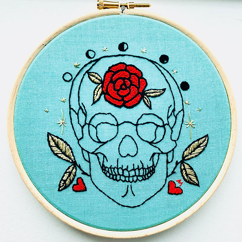 Gold Leaves and Red Rose Skull Embroidery Kit by Vintage Mad By M