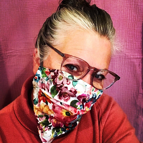 Bandana Reusable Cotton Facemasks in Floral Brights by Lilo @ Little Town Lola